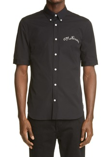 Men's Alexander Mcqueen Script Stitch Short Sleeve Button-Down Shirt
