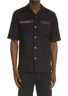 Men's Alexander Mcqueen Selvedge Logo Tape Short Sleeve Button-Up Shirt