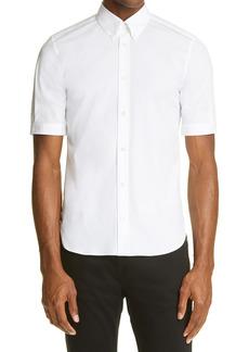 Men's Alexander Mcqueen Stretch Poplin Short Sleeve Men's Button-Down Shirt