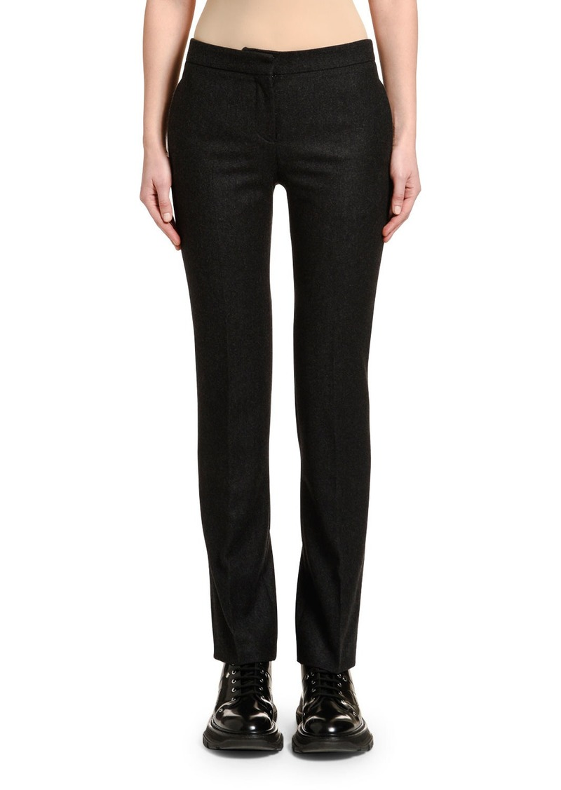 Alexander McQueen Men's-Cut Oxbridge Flannel Tuxedo Pants