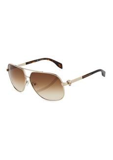 Alexander McQueen Metal Aviator Sunglasses with Gradient Lenses