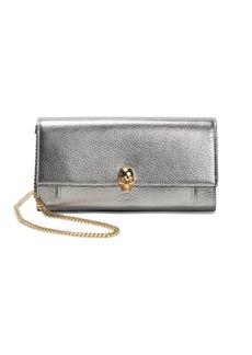 Alexander McQueen Metallic Leather Wallet-On-Chain