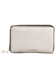Alexander McQueen metallic zip around wallet