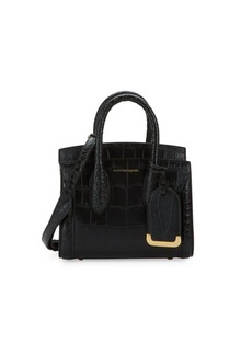 Alexander McQueen Mini Heroine Crocodile Embossed Leather Satchel