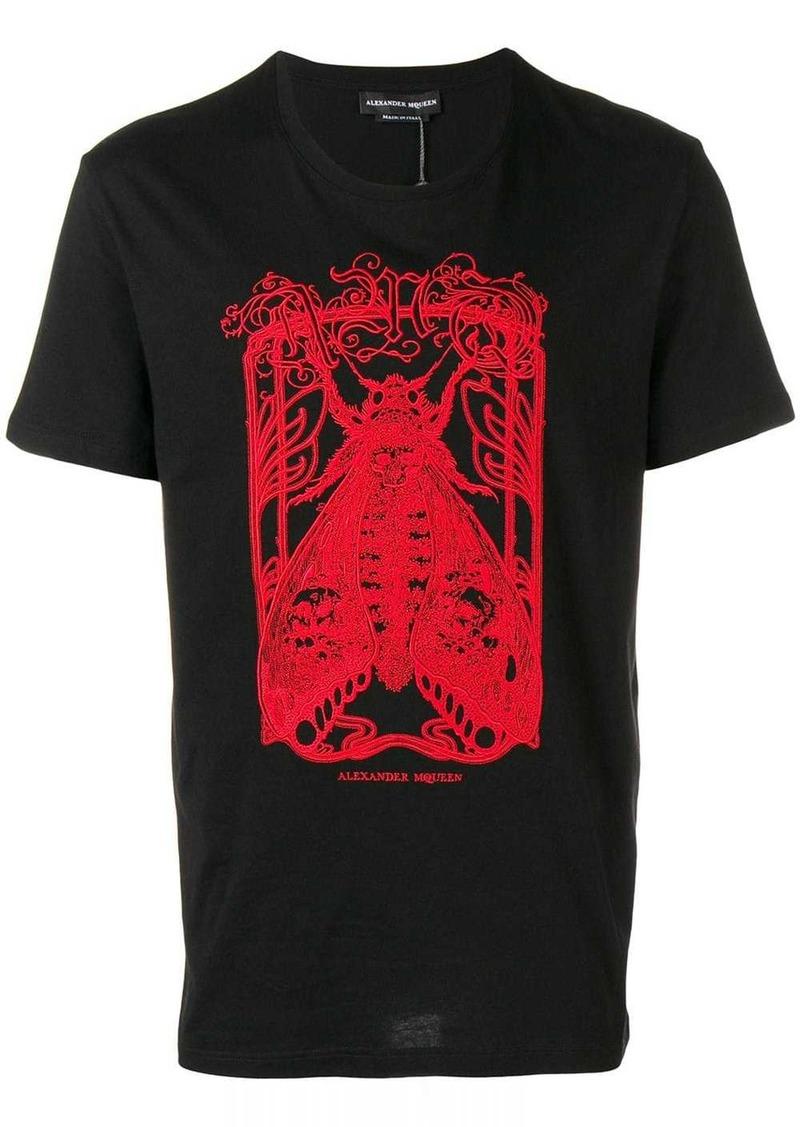 Alexander McQueen moth embroidered T-shirt
