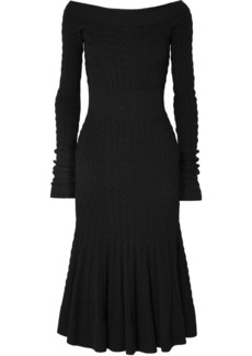 Alexander McQueen Off-shoulder Cable-knit Wool-blend Dress