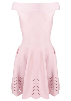 Alexander McQueen off shoulder pleated dress