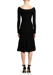 Alexander McQueen Off-the-Shoulder Cable Knit Midi Dress