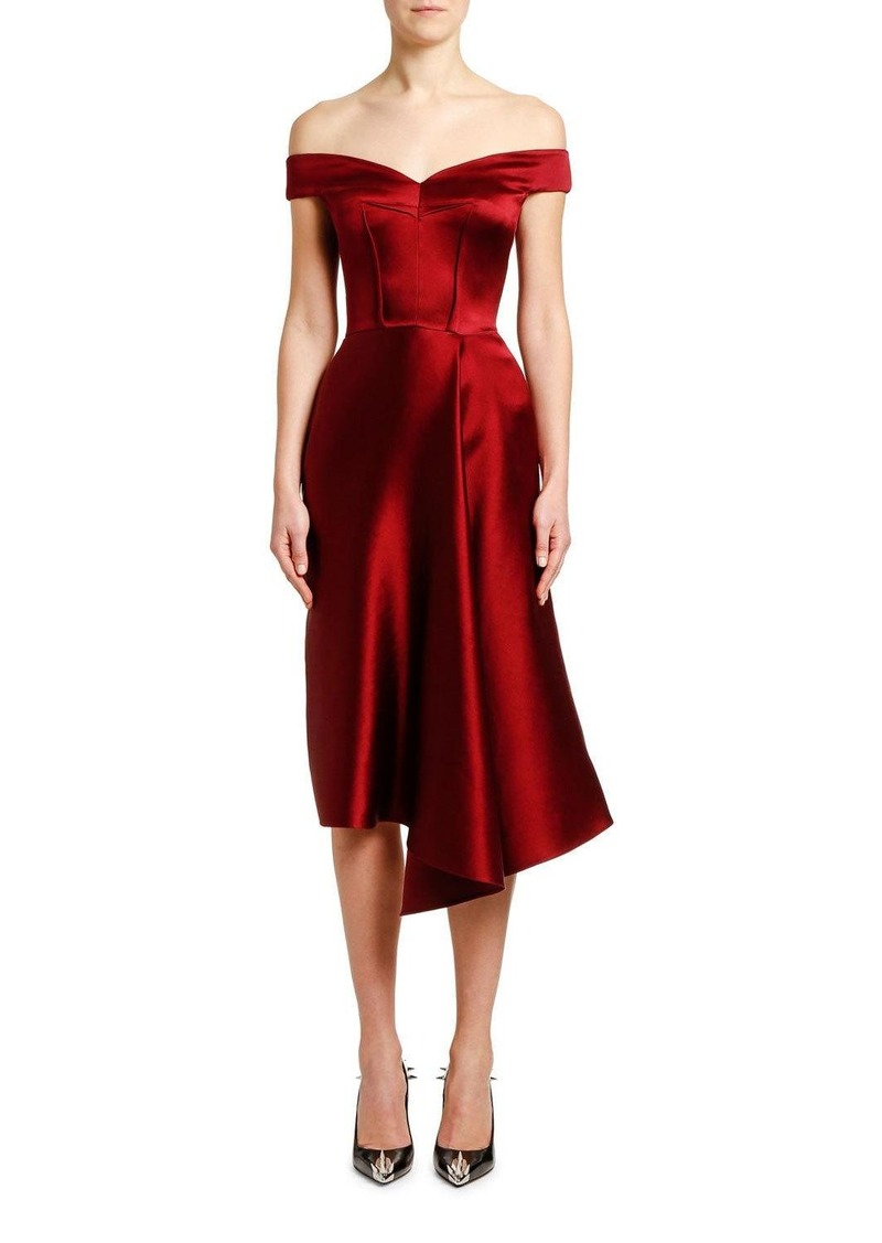 Alexander McQueen Off-the-Shoulder Draped Duchess Satin Dress