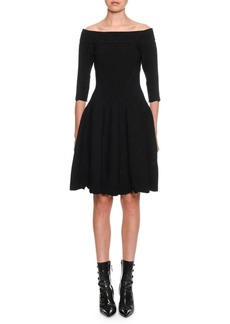 Alexander McQueen Off-The-Shoulder Shell-Embossed A-Line Dress
