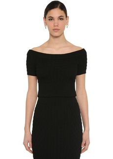 Alexander McQueen Off The Shoulder Wool Knit Waved Top