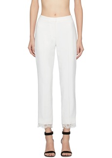 Alexander McQueen Off-White Lace Crepe Trousers