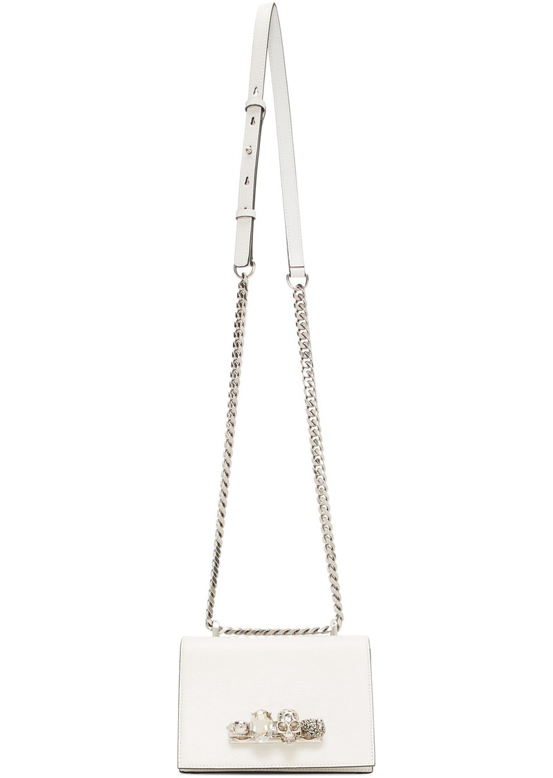Alexander McQueen Off-White Snake Small Jewelled Satchel Bag