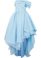 Alexander McQueen One-shoulder Asymmetric Distressed Silk-twill Gown