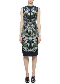 Alexander McQueen Ophelia Printed Sleeveless Sheath Dress