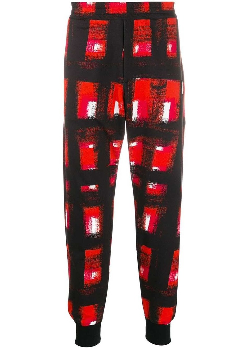 Alexander McQueen paint effect checked track pants