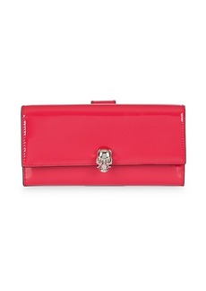 Alexander McQueen Patent Leather Flap Continental Wallet