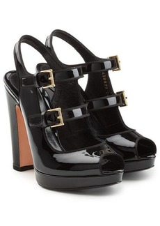 Alexander McQueen Patent Leather Platform Sandals