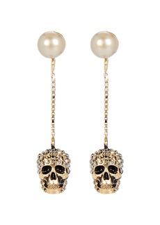 Alexander McQueen Pavé Skull Pearl Drop Earrings