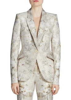 Alexander McQueen Ophelia Print Peak Shoulder One-Button Jacket
