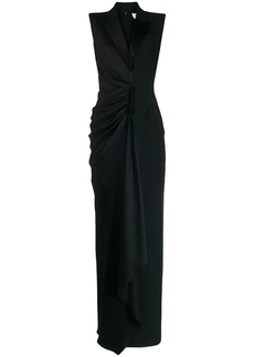 Alexander McQueen peaked lapels gathered gown