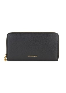 Alexander McQueen Pebbled Leather Continental Zip-Around Wallet