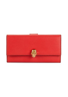 Alexander McQueen Pebbled Leather Snap Long Wallet
