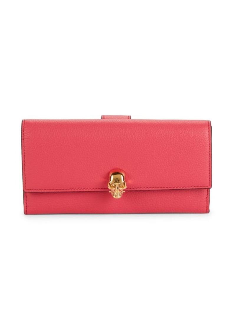 Alexander McQueen Pebbled Leather Snap Long Wallet