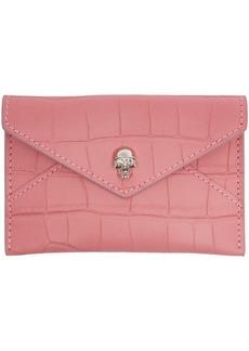 Alexander McQueen Pink Mini Skull Envelope Card Holder