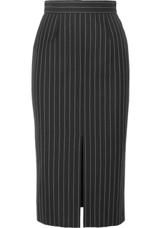 Alexander McQueen Pinstriped Wool-blend Pencil Skirt