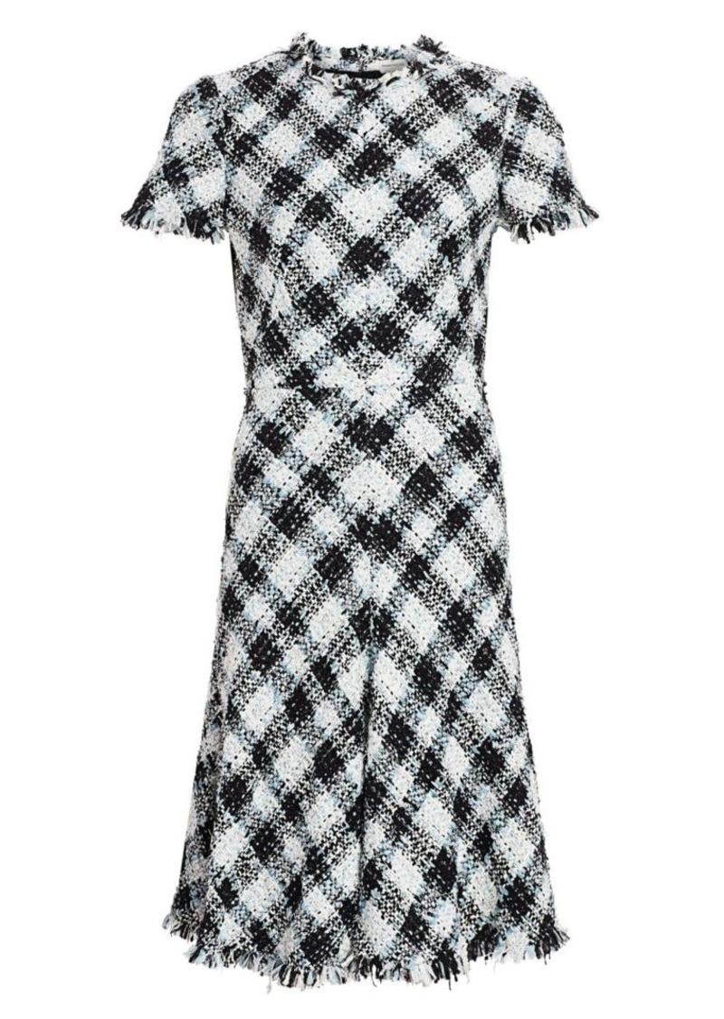 Alexander McQueen Plaid Tweed Wool-Blend A-Line Dress