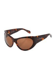 Alexander McQueen Plastic Oval Wraparound Sunglasses