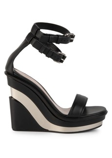 Alexander McQueen Platform Leather Wedge Sandals