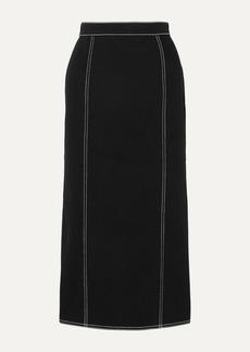 Alexander McQueen Pleated Denim Midi Skirt