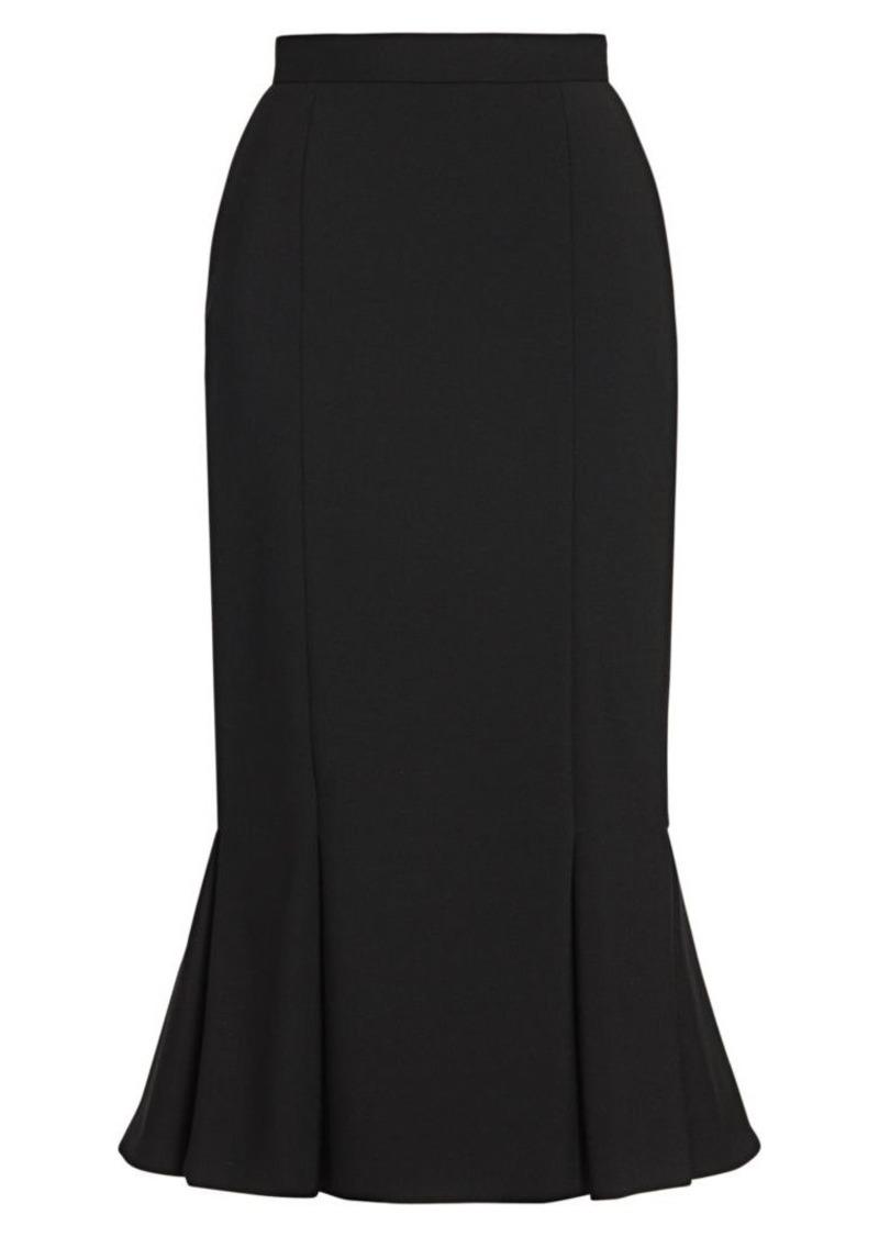 Alexander McQueen Pleated Hem Midi Skirt