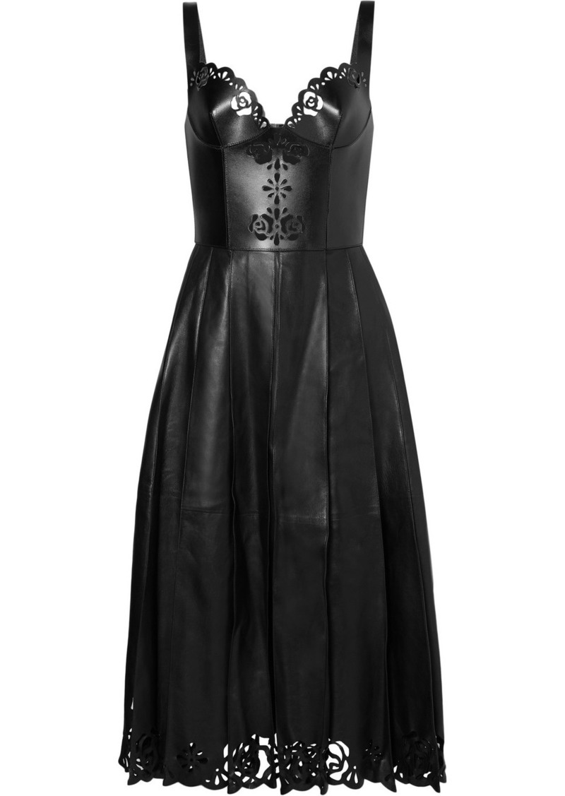 Alexander McQueen Pleated Laser-cut Leather Midi Dress