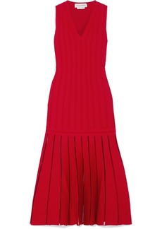 Alexander McQueen Pleated Ribbed-knit Midi Dress