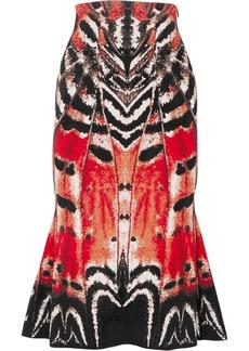Alexander McQueen Printed Jacquard Midi Skirt