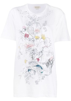 Alexander McQueen printed skull and flowers T-shirt