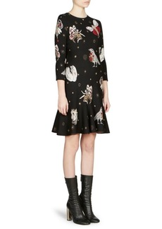Alexander McQueen Printed Trumpet-Hem Dress