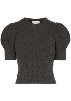 Alexander McQueen puffed-shoulder knitted top