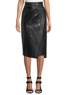 Alexander McQueen Python-Embossed Lamb-Leather Midi Wrap Skirt w/ Studs