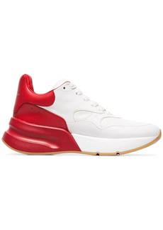 Alexander McQueen red and white contrast leather sneakers