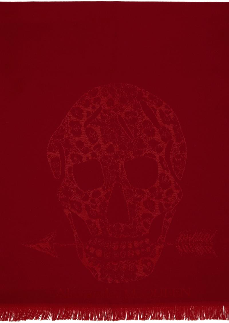Alexander McQueen Red Wool Leopard & Skull Scarf