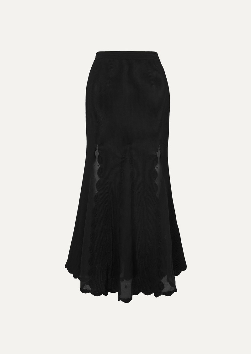 Alexander McQueen Ribbed-knit And Embroidered Silk-chiffon Midi Skirt