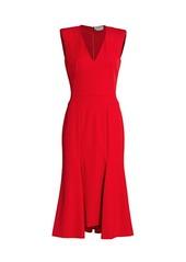 Alexander McQueen Rolled Shoulder Midi Dress