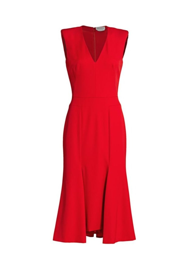 Alexander McQueen Rolled Shoulder Midi Dress