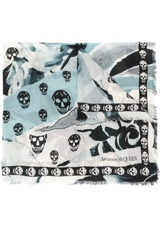 Alexander McQueen rose and skull print scarf