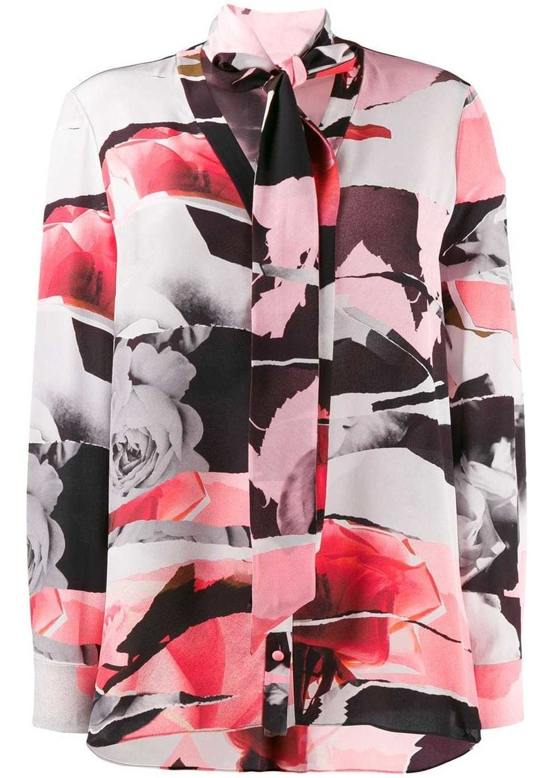 Alexander McQueen rose-print silk top