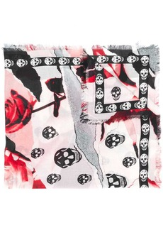 Alexander McQueen roses and skulls printed scarf